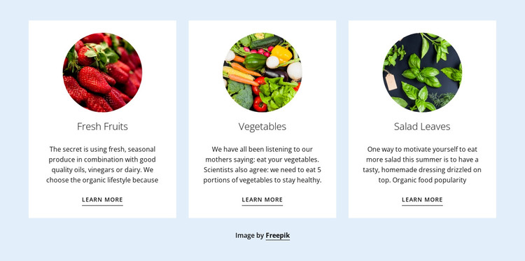 Healthy Recipes And Diet Web Design
