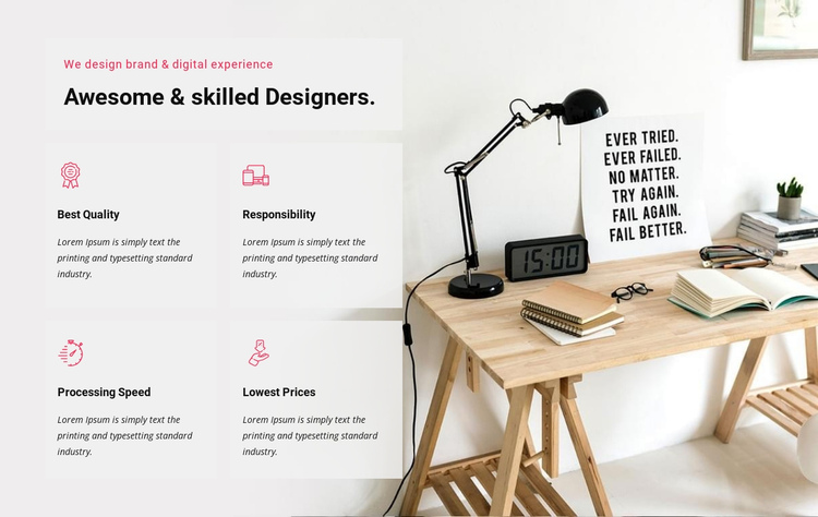 We design digital experience One Page Template