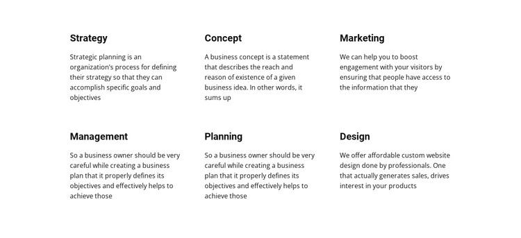 Text Planing Web Design