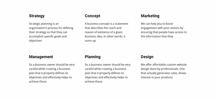 Text Planing Website Template