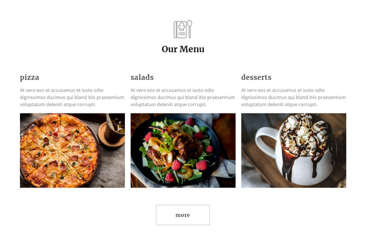 Restaurant meals One Page Template