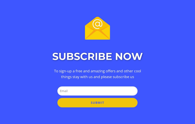 Subcribe now form with text HTML Template