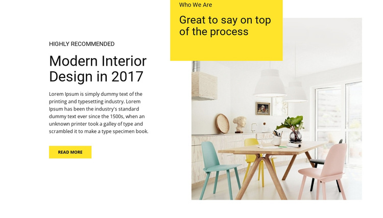Features of modern interior HTML5 Template