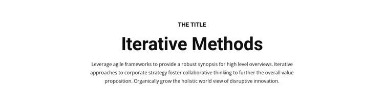 Iterative methods Joomla Page Builder