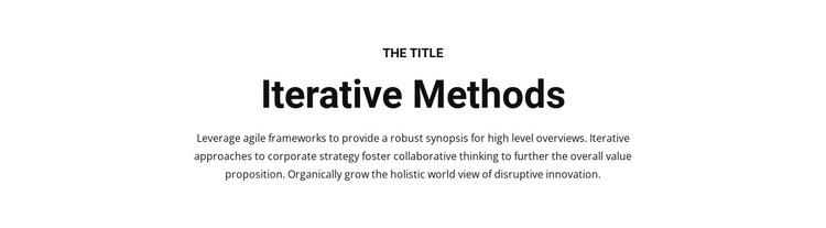 Iterative methods Joomla Template
