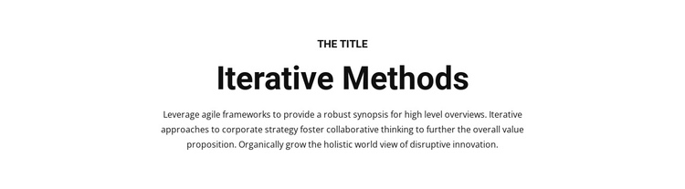 Iterative methods One Page Template