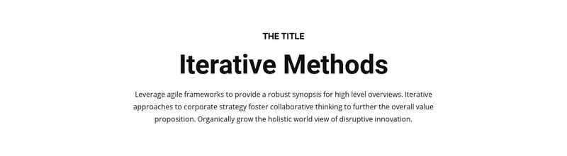 Iterative methods Web Page Design