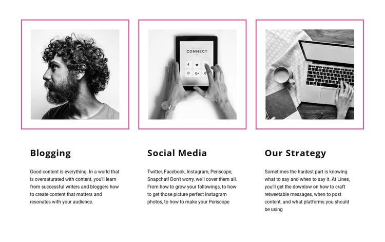 Blogging vs social media One Page Template