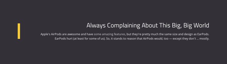 About Complaining Big World Html Website Builder