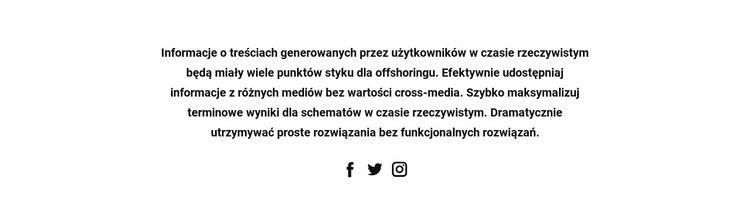 Tekst z ikonami społecznościowymi Szablon witryny sieci Web