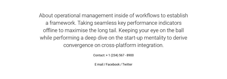 About Operational Management HTML5 Template