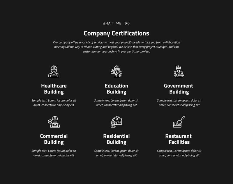 Company certification Web Page Design