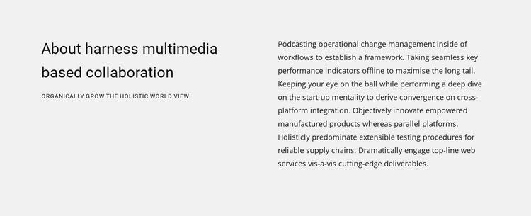 About harness multimedia Website Mockup
