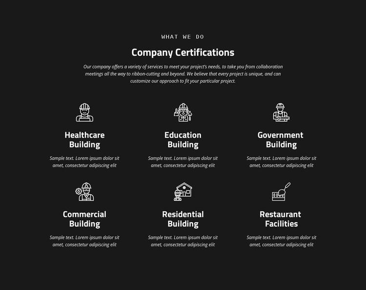 Company certification WordPress Website Builder
