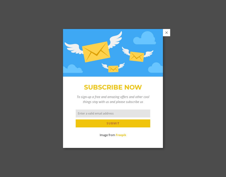 Subcribe now form in popup HTML Template
