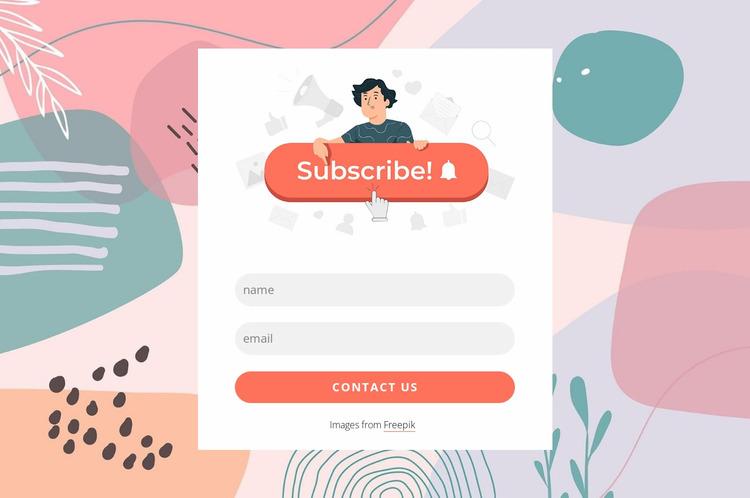 Subscription form template WordPress Website Builder