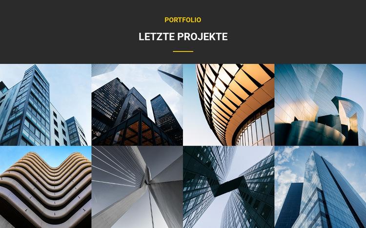 Portfolio der letzten Projekte Website-Vorlage