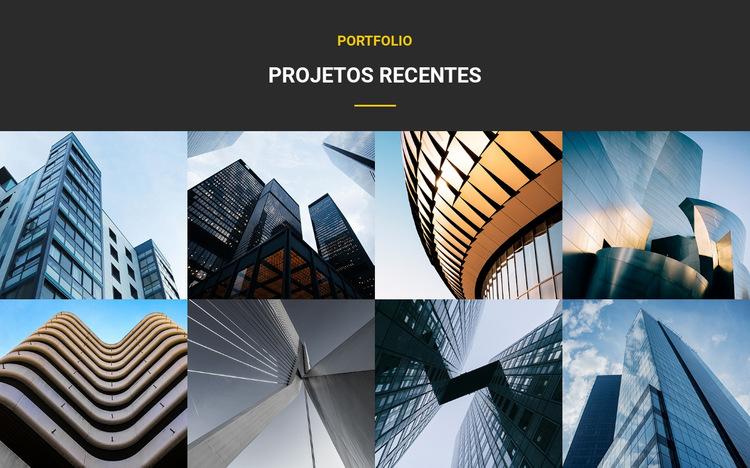 Portfólio de projetos recentes Modelo de site