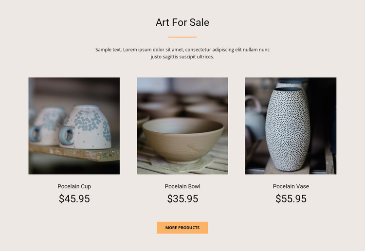 Art For Sale Landing Page