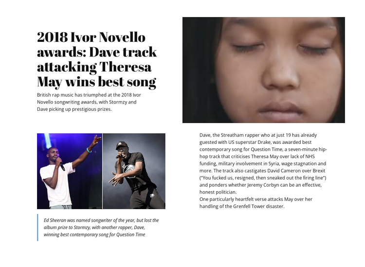 May Wins Best Song One Page Template
