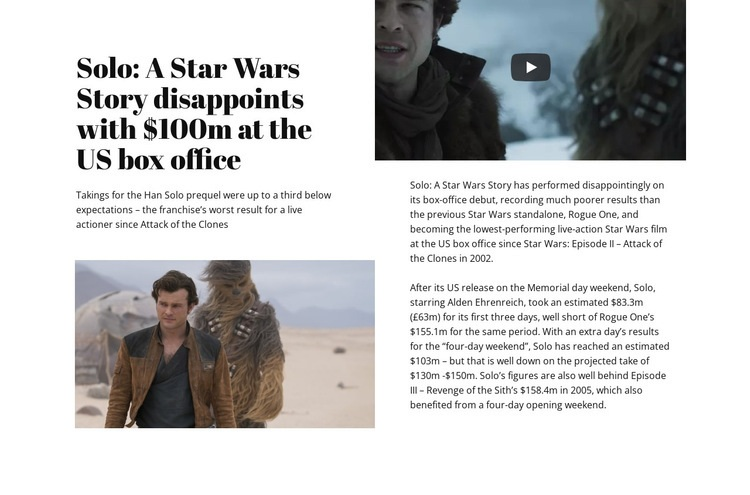 Star Wars Story Landing Page