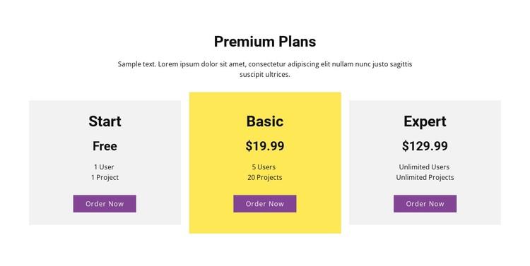 Three pricing plan CSS Template