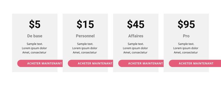 Tableau de prix avec des couleurs vives Modèle de site Web