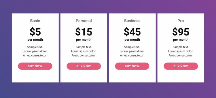 Pricing Table Html Website Builder