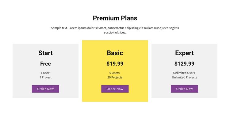 Three pricing plan Joomla Template