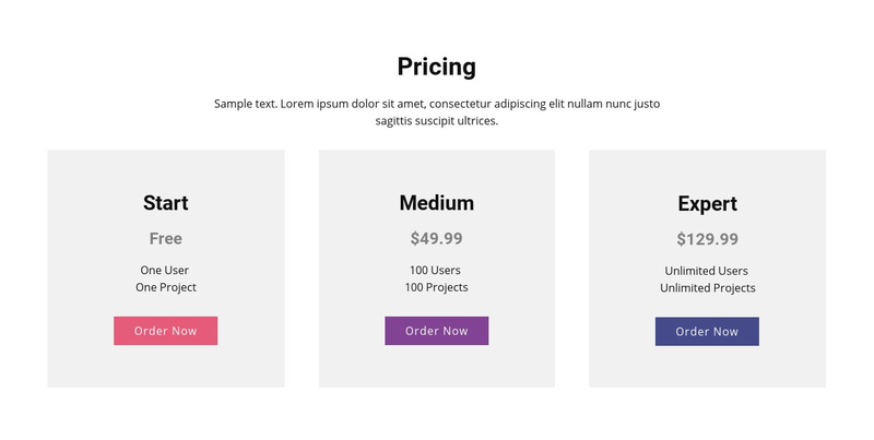 Modern pricing table Web Page Design