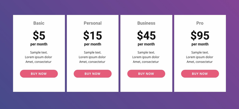 Pricing table with bright colors Web Page Designer