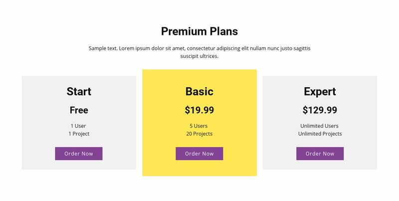 Three pricing plan Web Page Designer
