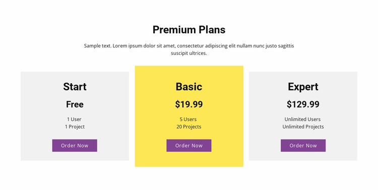 Three pricing plan Website Builder