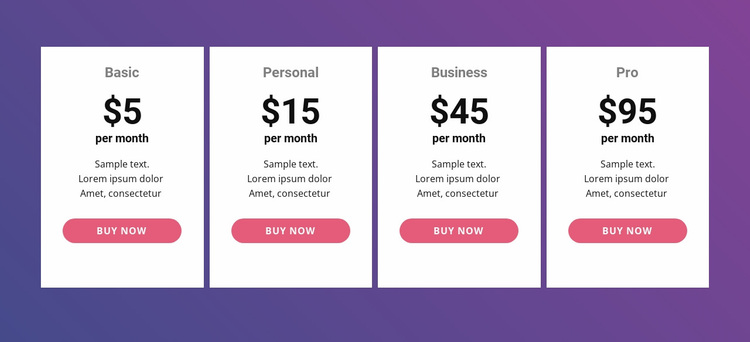 Pricing table with bright colors Website Design
