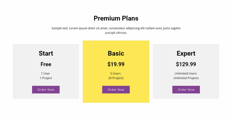 Three pricing plan Website Design