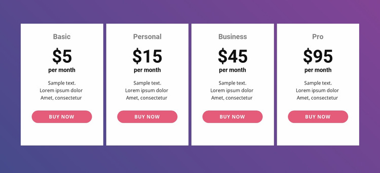 Pricing table with bright colors Website Mockup