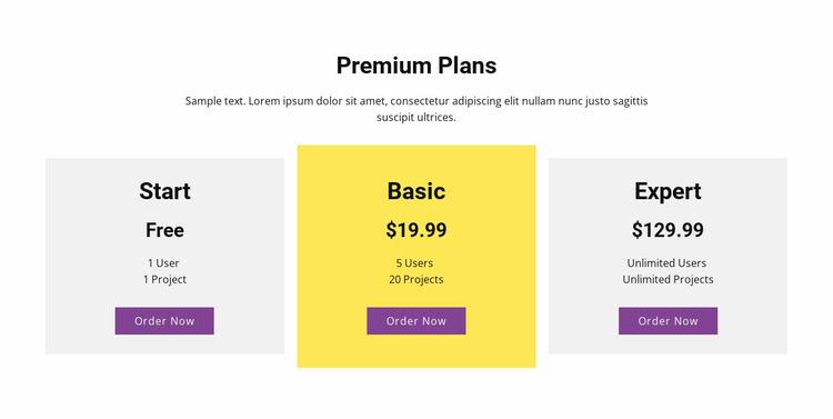 Three pricing plan Website Mockup