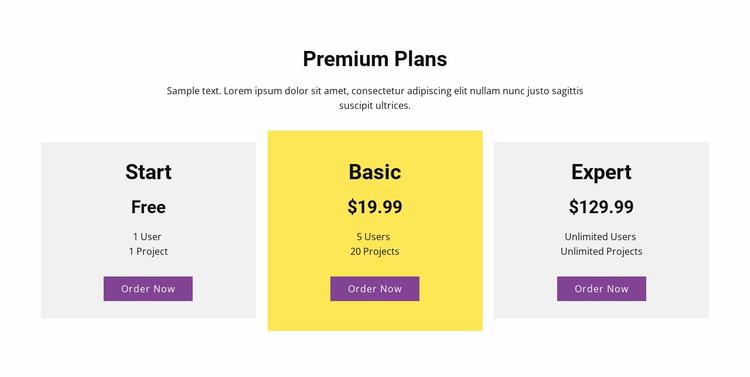 Three pricing plan Landing Page