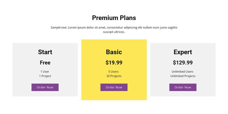 Three pricing plan WordPress Theme