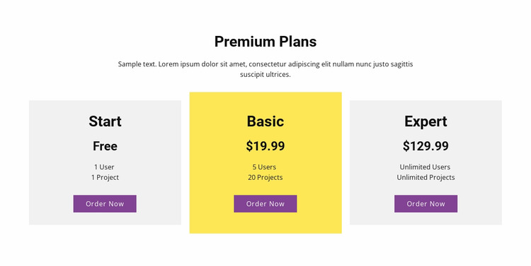 Three pricing plan WordPress Website Builder