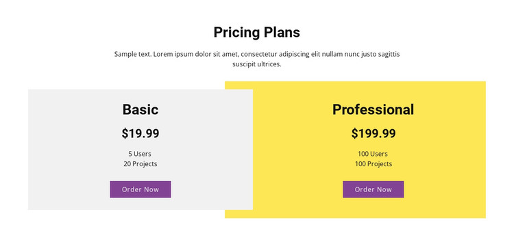 Overlapping pricing table WordPress Theme