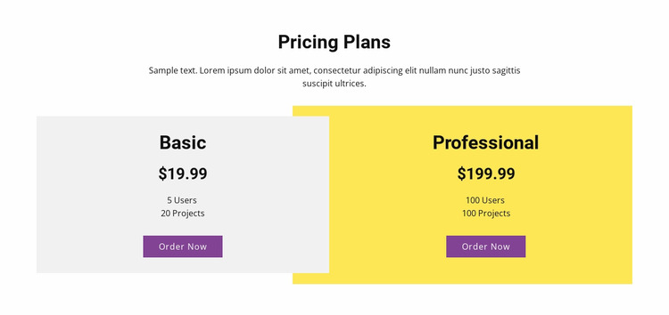 Overlapping pricing table WordPress Website Builder