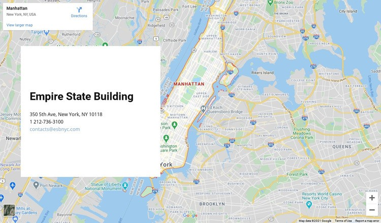 Google map with address block Html Code Example