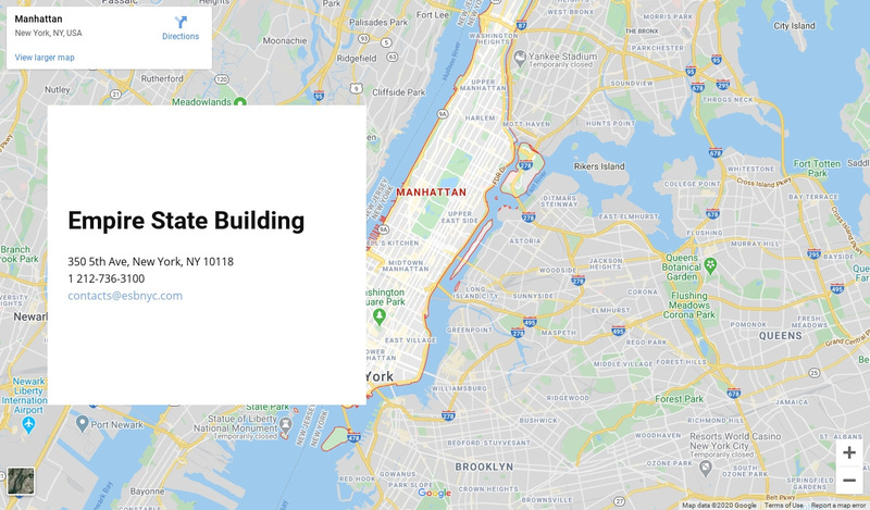 Google map with address block Web Page Design