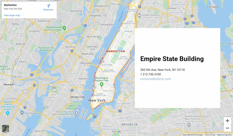 Contact us block with a map on background Web Page Designer