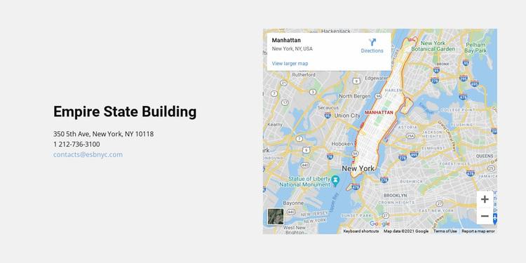 Map and address Website Design