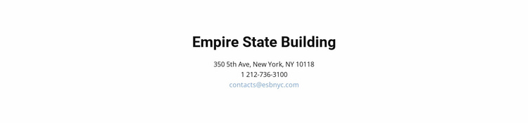 Contact details and address Website Template