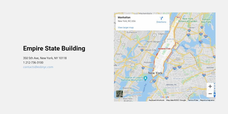 Map and address Landing Page