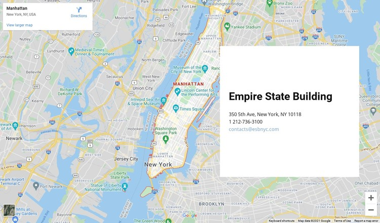 Contact us block with a map on background WordPress Template