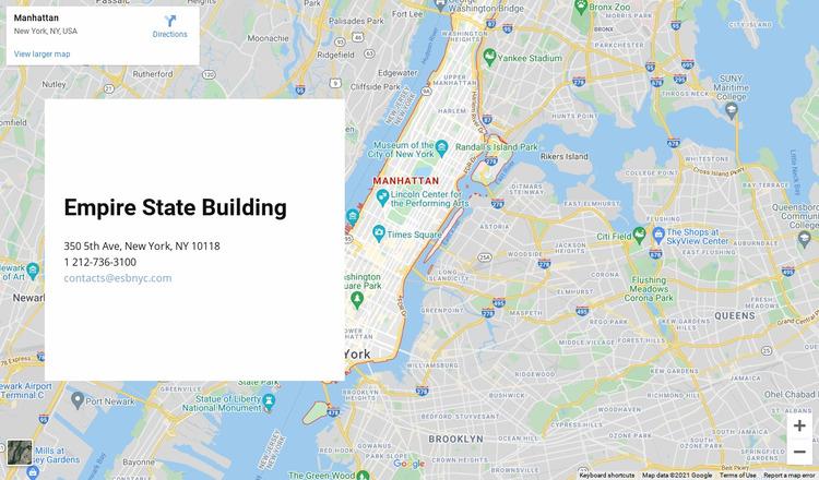 Google map with address block WordPress Website Builder